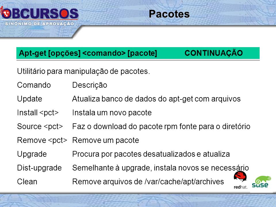 Pacotes Apt-get [opções] <comando> [pacote] CONTINUAÇÃO